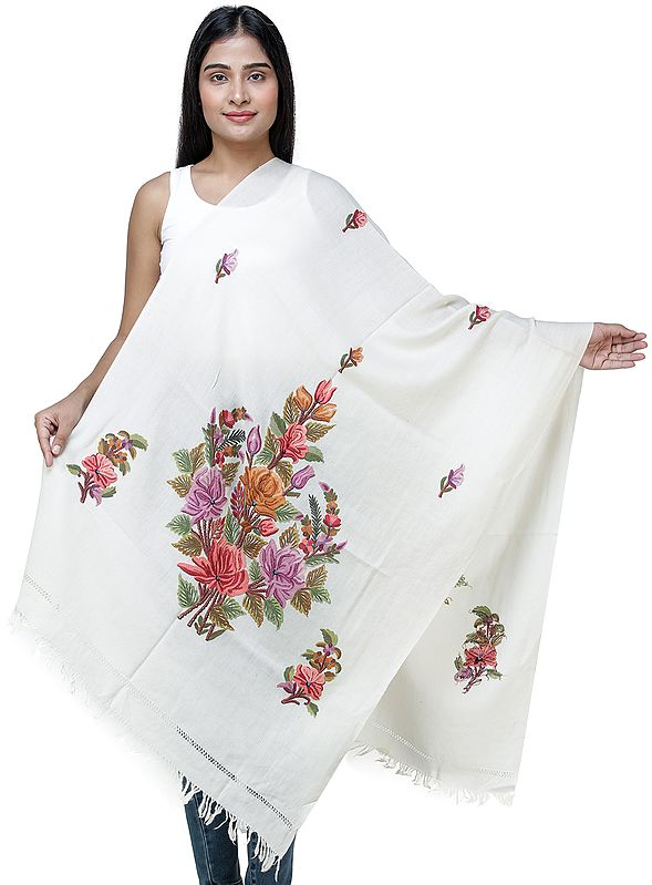Antique-White Traditional Woolen Stole from Kashmir with Hand-Embroidered Flowers