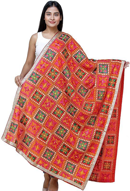 Fiesta-Red Phulkari Dupatta from Punjab with Multicolor Floral Patterns and Zari Border