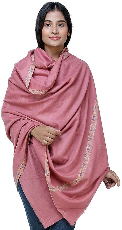 Blush-Pink Pashmina Shawl From Kashmir with Needle Hand Embroidery
