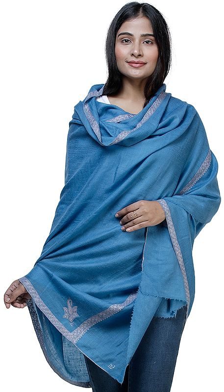 Blue-Jasper Pashmina Shawl From Kashmir with Needle Hand Embroidery