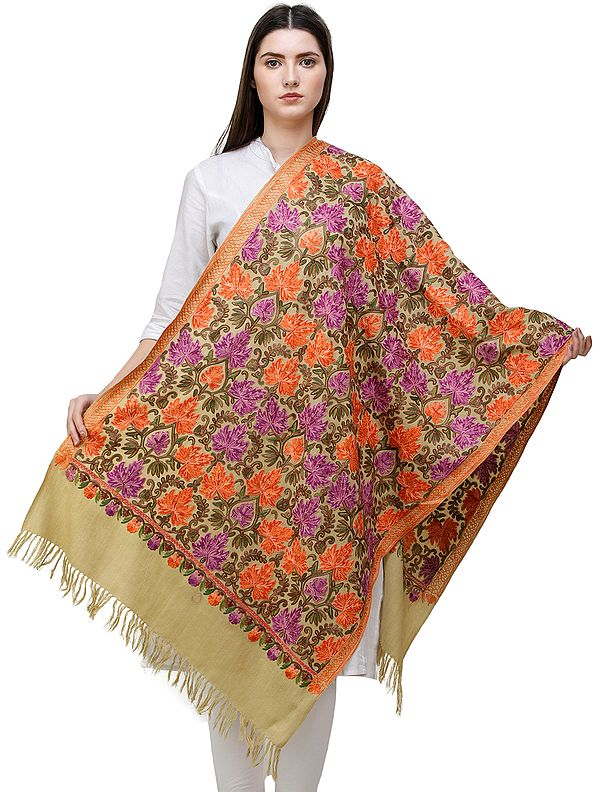 Cedar-Green Ari Woolen Stole from Kashmir with Heavily Embroidered Chinar Leaves