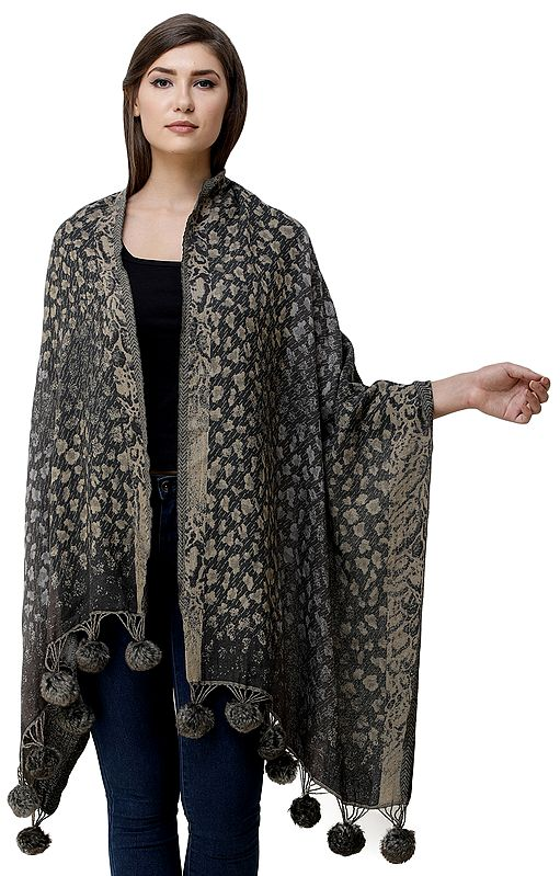 Lava-Gray Jamawar Stole from Amritsar with Faux-Fur Tassels