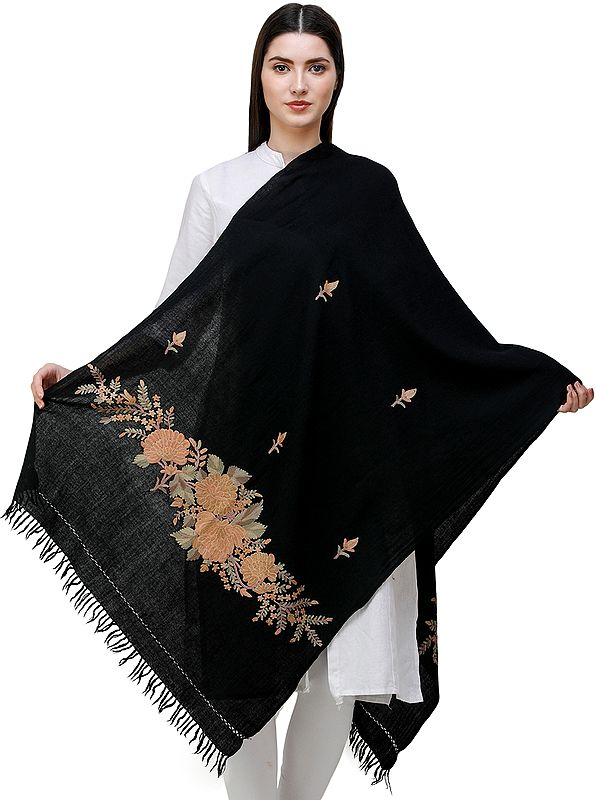 Jet-Black Stole from Kashmir with Hand-Embroidered Floral Vine