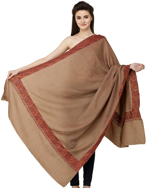 Toffee-Brown Plain Tusha Shawl from Kashmir with Needle Embroidery by Hand on Border