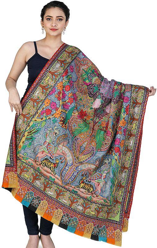 Superfine Pure Pashmina Shawl from Kashmir with Kalamkari Hand-Embroidery Depicting Mughal Hunting Scene