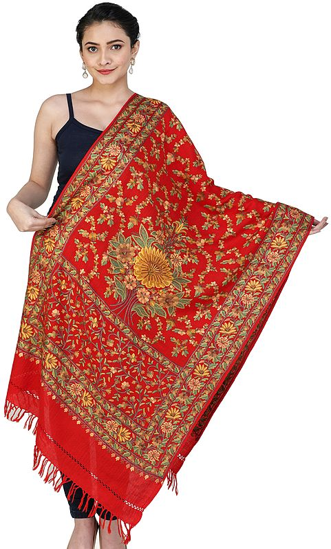 Kashmiri Stole with Hand-Embroidered Multicolor Flowers All-Over