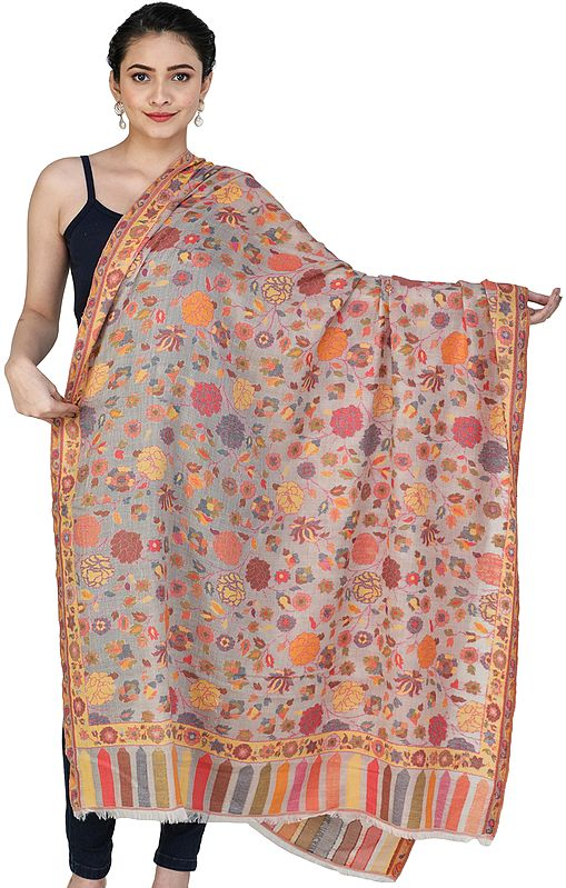 Moonbeam Kani Jamawar Shawl from Amritsar with Multicolor Floral Vines