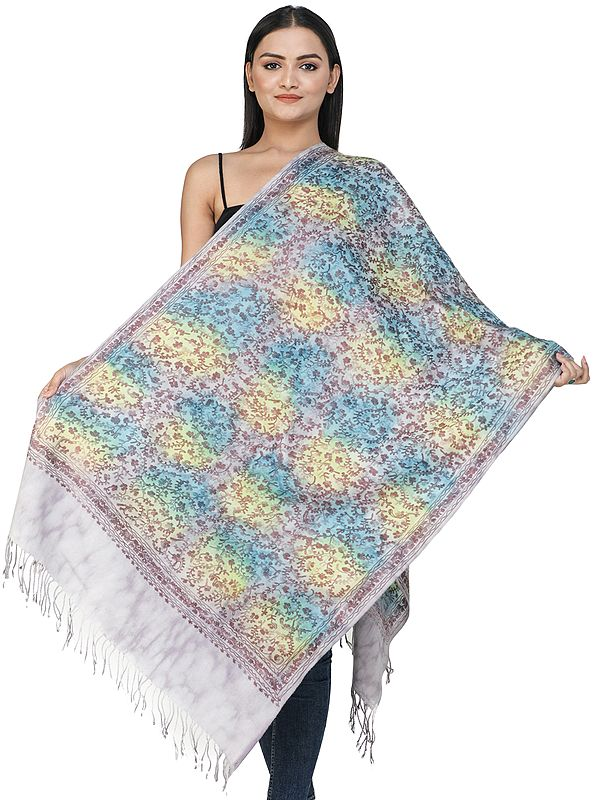 Violet-Ice Ari Woolen Shaded Stole from Amritsar  with Embroidered Flowers