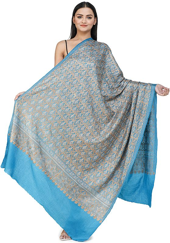 Vivid-Blue Ari Embroidered Shawl from Amritsar with Golden Zari Thread