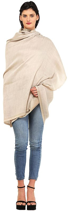 Plain Reversible Semi-Cashmere Shawl with Golden Thread Weave