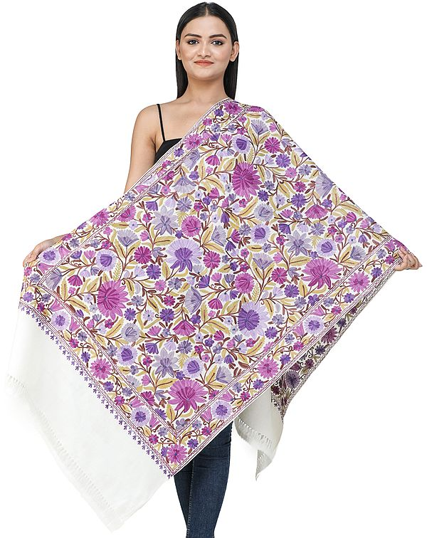 Star-White Woolen Stole from Kashmir with Ari-Embroidered Flowers and Vines