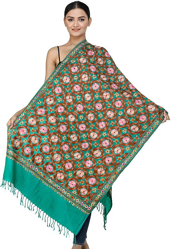 Proud-Peacock Woolen Stole from Kashmir with Ari-Embroidered Flowers