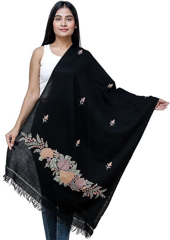 Phantom-Black Stole from Kashmir with Hand-Embroidered Floral Vine