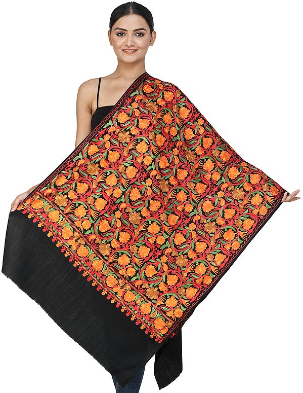 Black-Onyx Woolen Stole from Kashmir with Ari-Embroidered Flowers and Vines