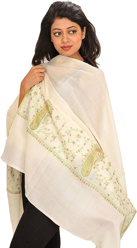 Afterglow Plain Pure Wool Shawl from Kashmir with Sozni Hand-Embroidery