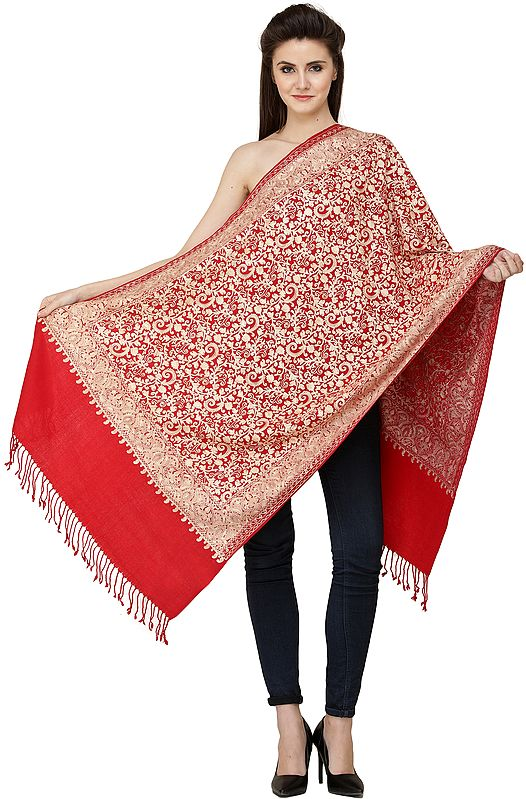 Scarlet-Sage Woolen Stole from Amritsar with All-over Ari Embroidery