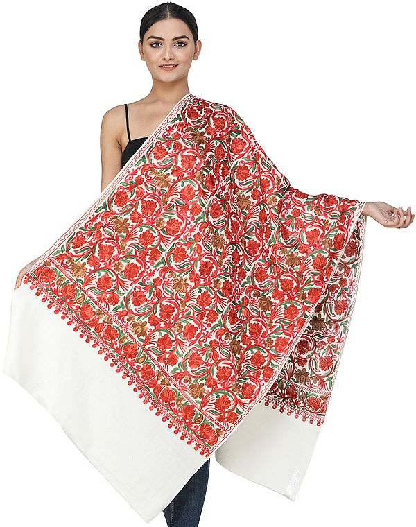 Solitary-Star Woolen Stole from Kashmir with Ari-Embroidered Flowers and Vines