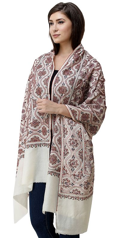 Antique-White Tusha Shawl from Kashmir with Needle-Embroidered Paisleys All-over