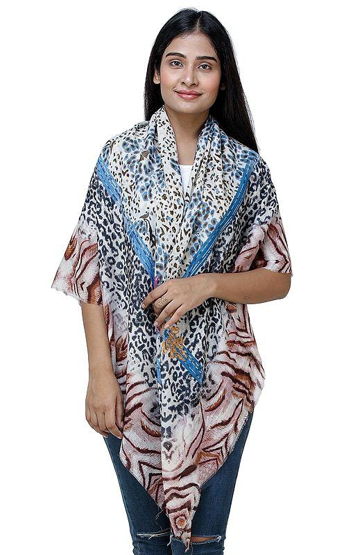Bonnie Blue Digital Printed Tiger and Leopard Skin Scarf