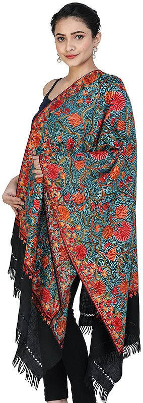 Black-Beauty Woolen Stole from Srinagar with Ari-Embroidery by Hand