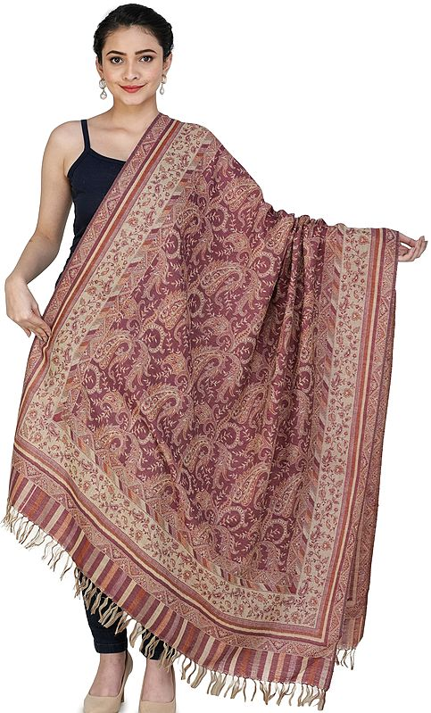 Pebble Jamawar Shawl from Amritsar with Multicolor Floral Vines