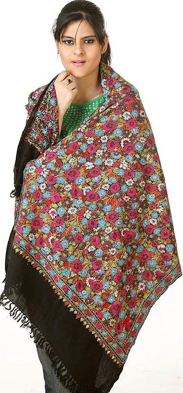 Black Kashmiri Stole with Dense Hand-Embroidery Resembling Papier Machie