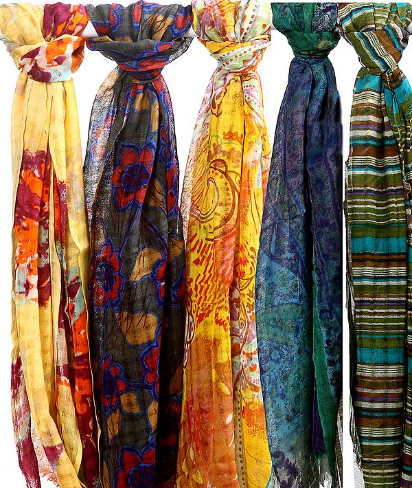 Lot of Five Printed Stoles with Missing Checks in Weave