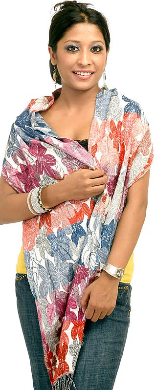 Dorukha or Reversible Multi-Colour Jamawar Scarf