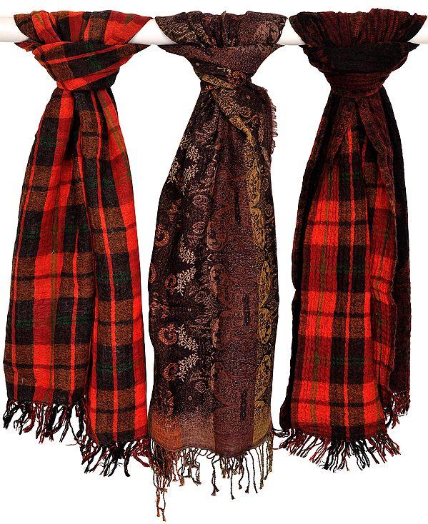 Assorted Lot of Three Reversible Jacquard Jamawar Scarves