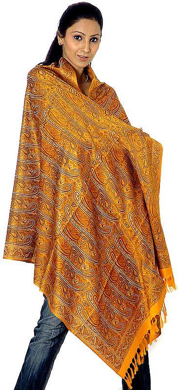 Golden-Mustard Stylized Paisley Banarasi Shawl with All-Over Weave
