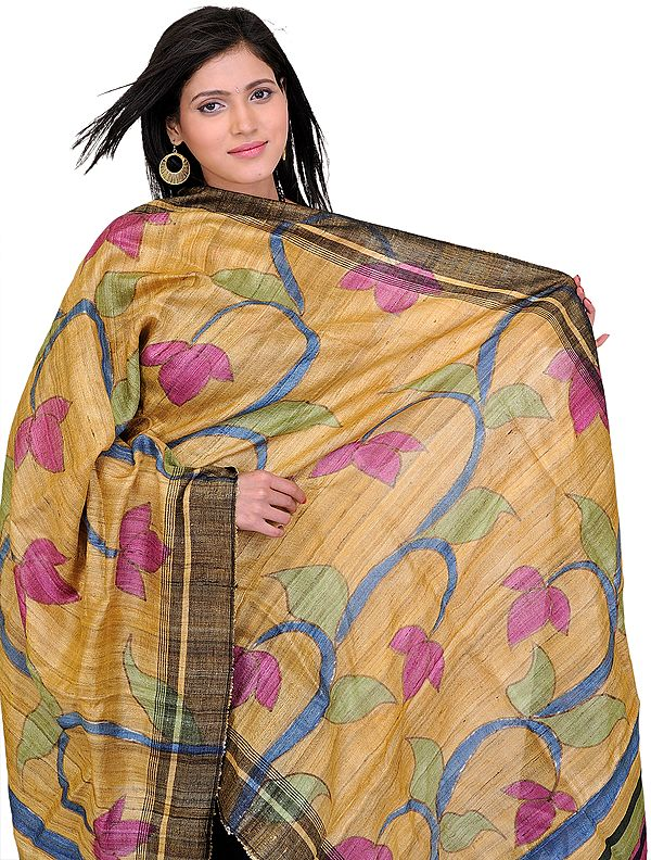 Golden-Apricot Dupatta with Printed Flowers