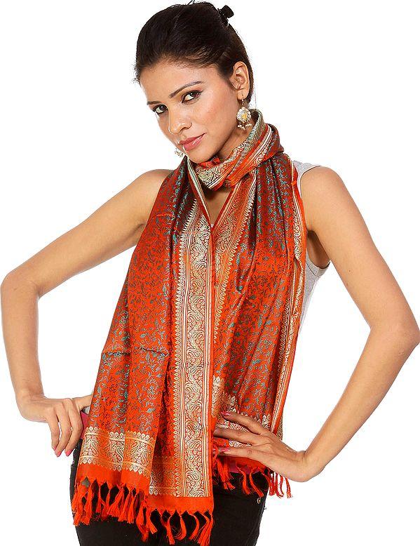 Handwoven Orange Banarasi Stole with Tanchoi Weave
