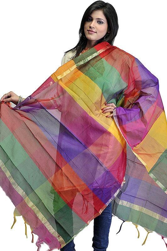 Multi-Color Rainbow Chanderi Dupatta with Golden Thread Weave
