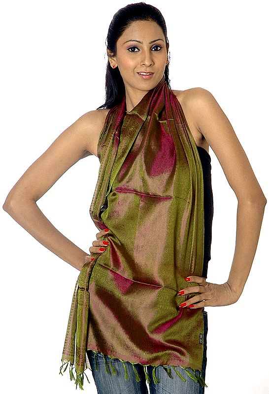 Olive-Green Banarasi Scarf with Tanchoi Weave