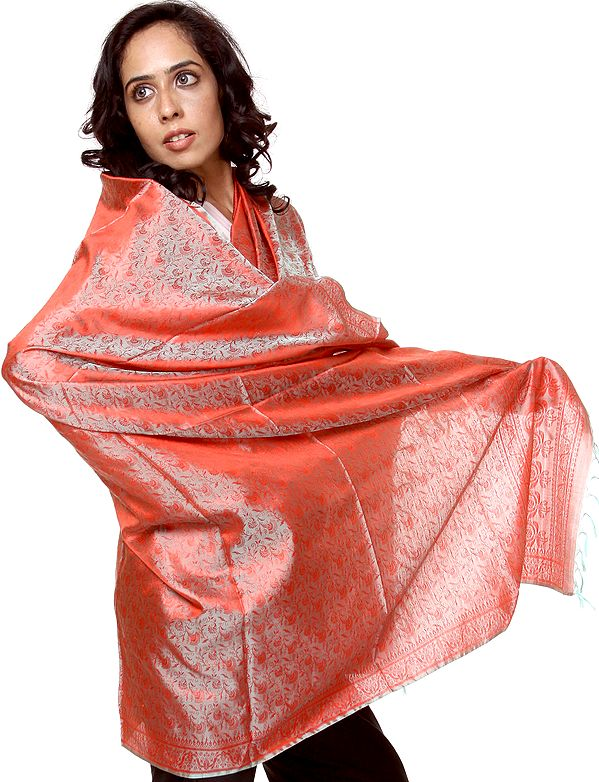 Red and Cyan Banarasi Shawl with Tanchoi Weave