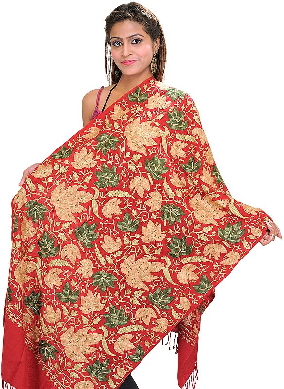 Crewel Stole with Embroidered Maple Leaves All-Over