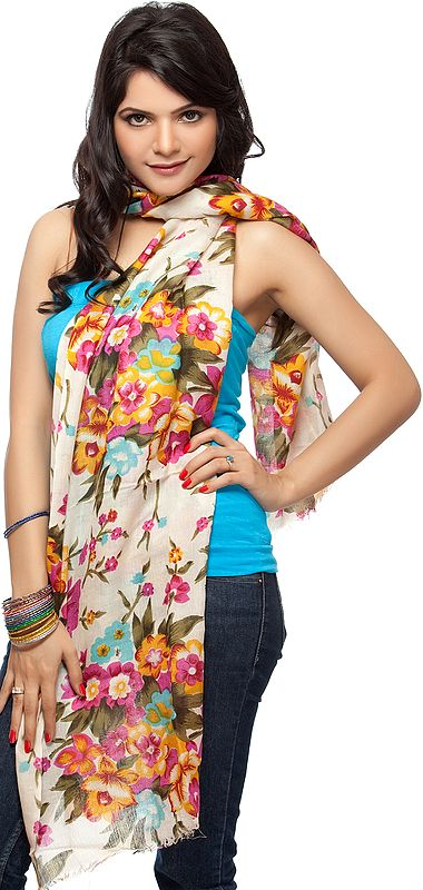Ivory Stole with Multi-Colored Printed Flowers