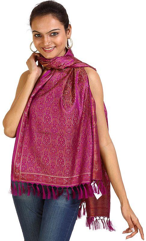 Hollyhock-Purple Banarasi Tehra Stole with All-Over Woven Paisleys