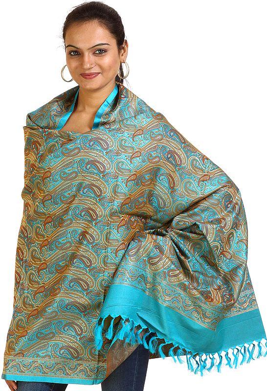 Cyan-Blue Banarasi Shawl with Woven Paisleys