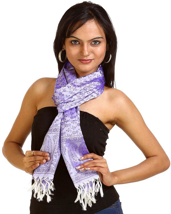 Lavender Tanchoi Scarf from Banaras