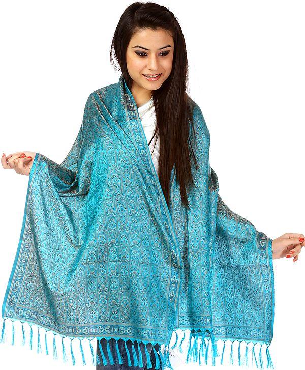 Cyan-Blue Tehra Banarasi Scarf with All-Over Woven Paisleys
