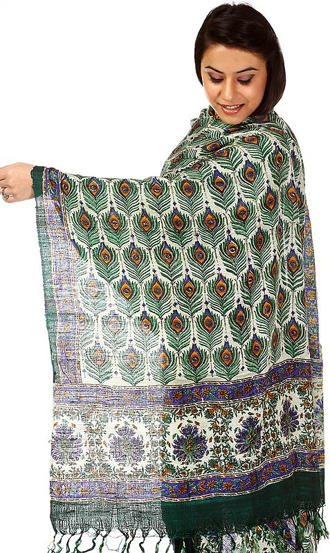 Block-Printed Peacock Stole