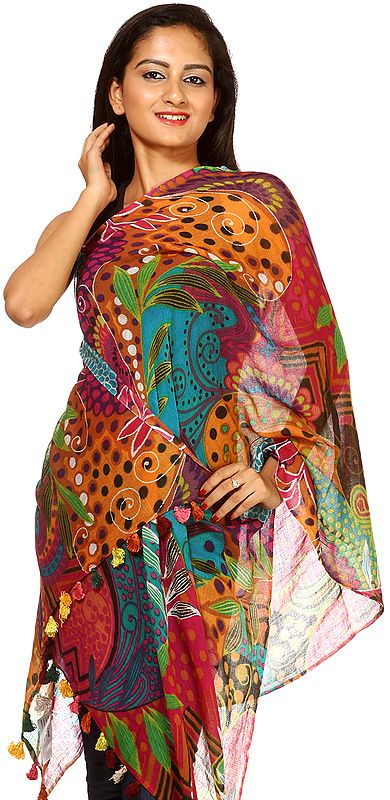 Printed Multi-color Stole with Floral Motifs
