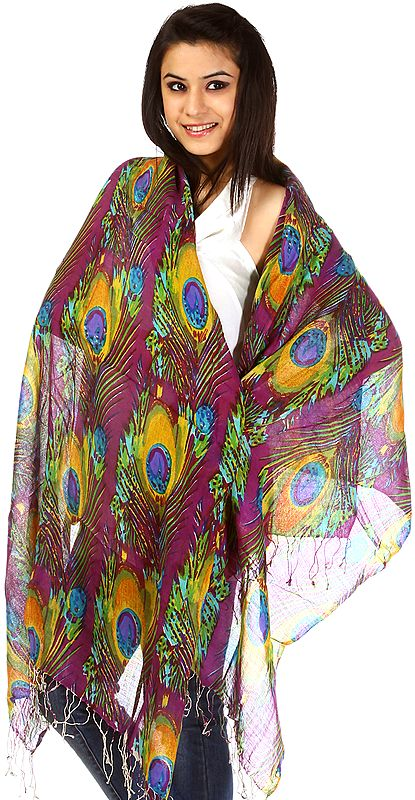 Purple Stole with Printed Peacock Feathers