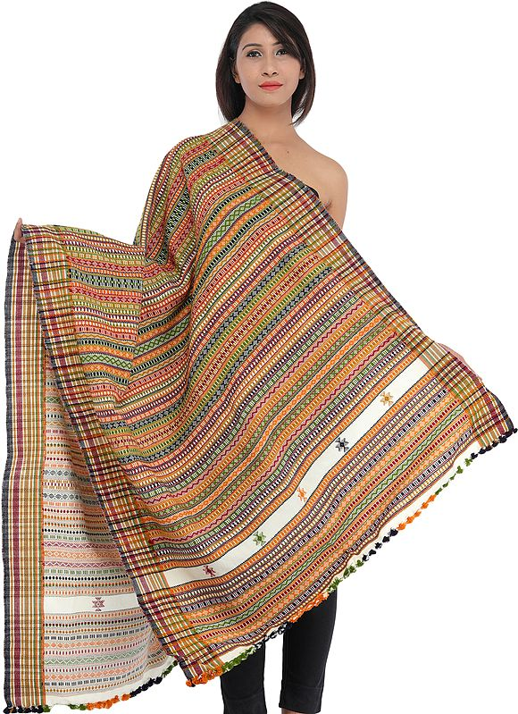 Multi-Color Hand-woven Folk Shawl from Kutch