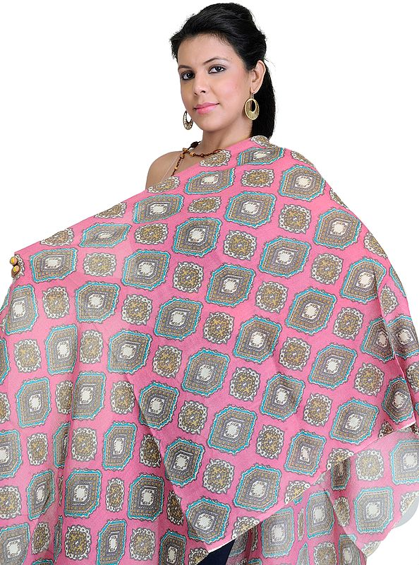 Shocking Pink Stole with Printed Hexagons