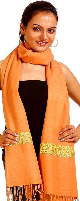 Tangerine-Orange Plain Kashmiri Stole from Kashmir with Golden Metallic Embroidery by Hand