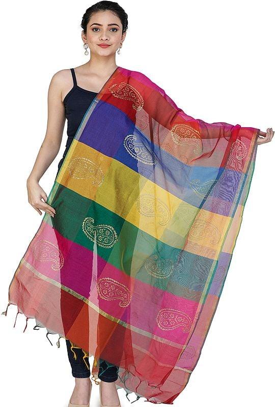 Multi-Color Rainbow Chanderi Dupatta with Printed Paisleys