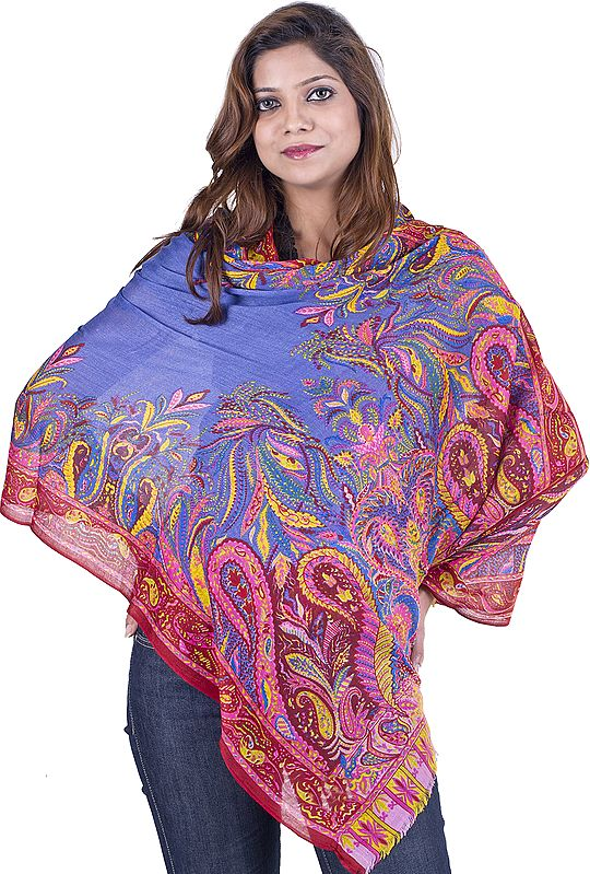 Vista-Blue Modal Stole with Large Printed Paisleys