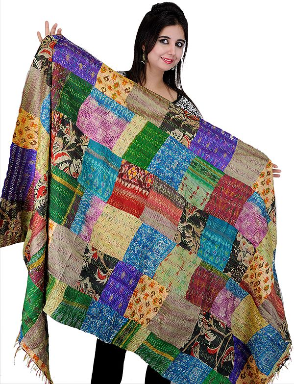 Reversible Multi-Color Kantha Embroidered Patchwork Shawl with Ikat Weave